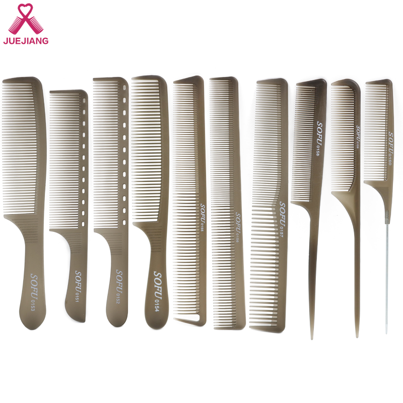 Unbreakable Plastic Hair Cutting Comb Creative Transparent Gray Set 9 Styles With Rat Tail,Handle,Dual Use  Salon Tools