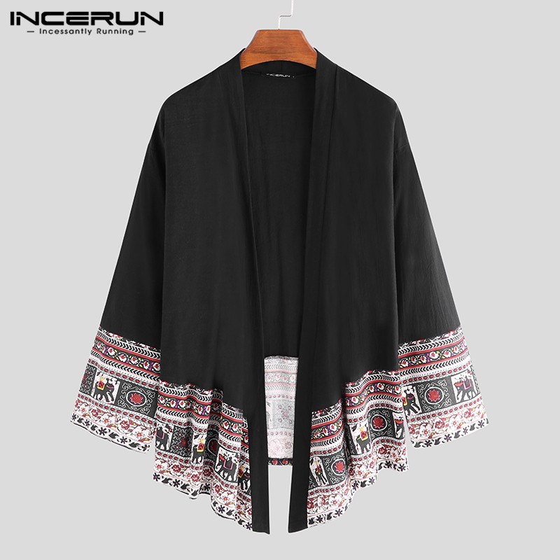 INCERUN Men Outerwear Ethnic Style Print Long Sleeve Cardigan 2020 Kimono Retro Casual Men Trench Coats Streetwear Jackets S-5XL