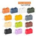 1x2 Moc настенный кирпич, 65 шт., разные цвета, «сделай сам», классический развивающий склон, строительные блоки, совместимые с сборными элемента...