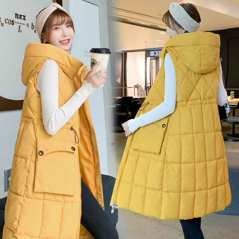 2019 New Brand Winter Women 39 s jacket Windproof Warm Long Cotton Waistcoat Casual Sleeveless hooded femme coat veste in Vests amp Waistcoats from Women 39 s Clothing