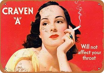 1939 Craven A Cigarettes Will Not Affect Your Throat Wall Plaque Sign image