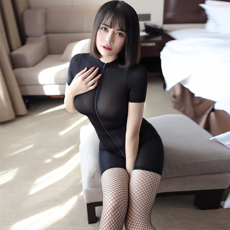 See through Sexy Women Zipper Open Crotch Bust High Cut Bodysuits Ice Silk Smooth Shiny Playsuit Jumpsuit Shaping Dance Wear
