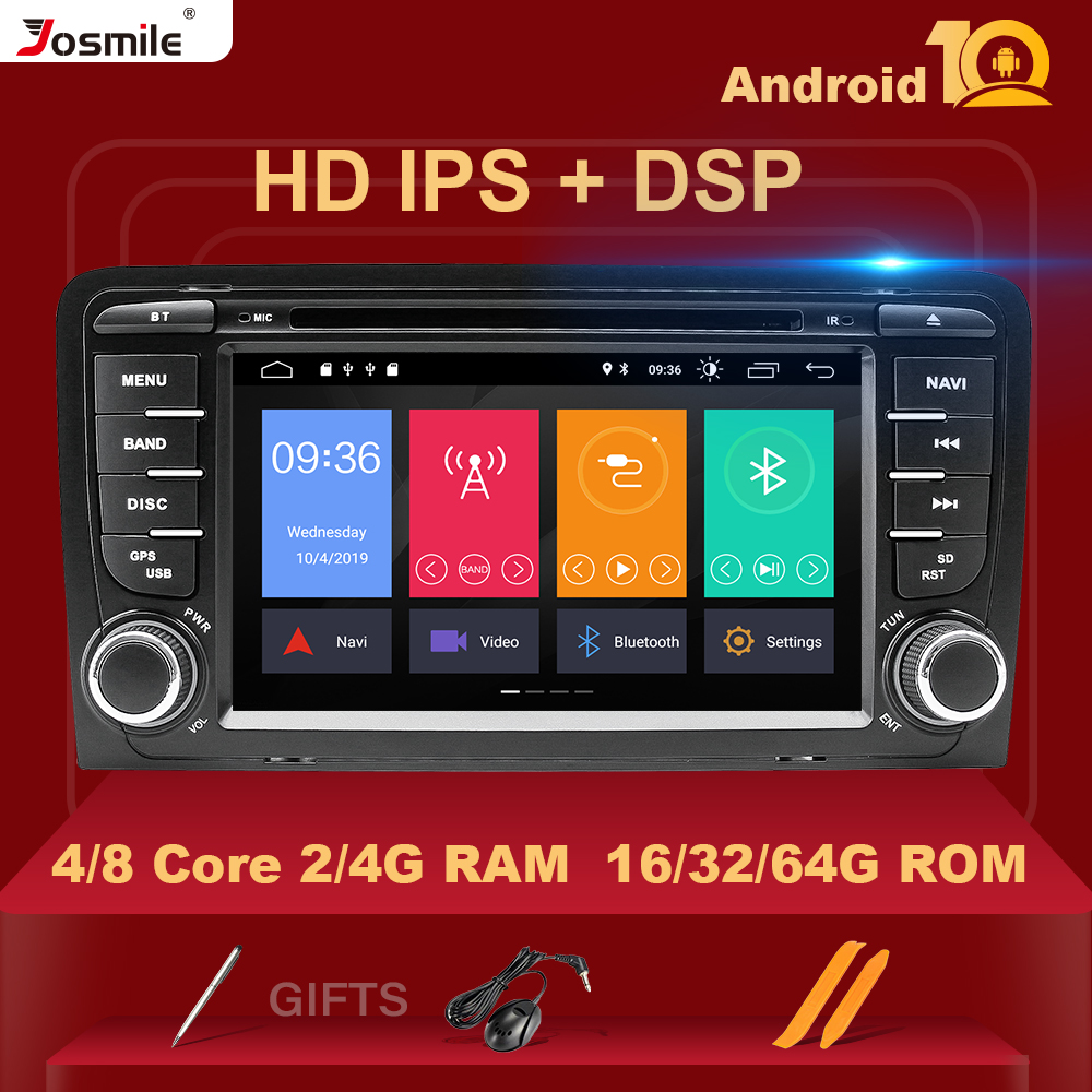 IPS DSP 4GB 2din Android 10 Car Radio DVD Player For Audi A3 8P S3 2003-2012 RS3 Sportback Multimedia Navigation Stereohead Unit