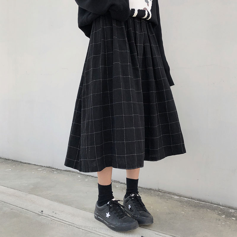 2 Colors Japanese Style High Elastic Waist Long Skirts Woman 2019 Autumn Winter Plaid A-line Pleated Skirts Womens (X1078)