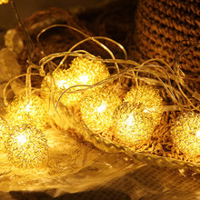 YINUO LIGHT 1.5/2.5/5M Metal Ball LED String Light Garland Fairy Lights Battery For Christmas Holiday Wedding Home Decoration string lights new 1 5m 3m 6m fairy garland led ball waterproof for christmas tree wedding home indoor decoration battery powered