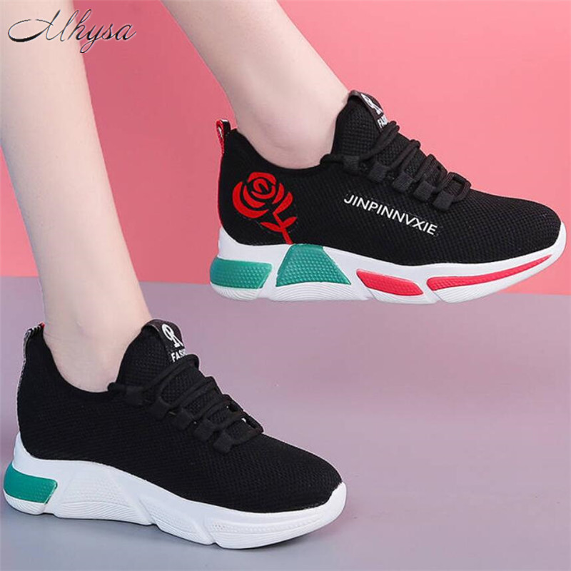 New Women Casual Shoes Woman Fashion Breathable Mesh Walking Shoes Platform Sneakers Women Black Vulcanized Shoes Tenis Feminino