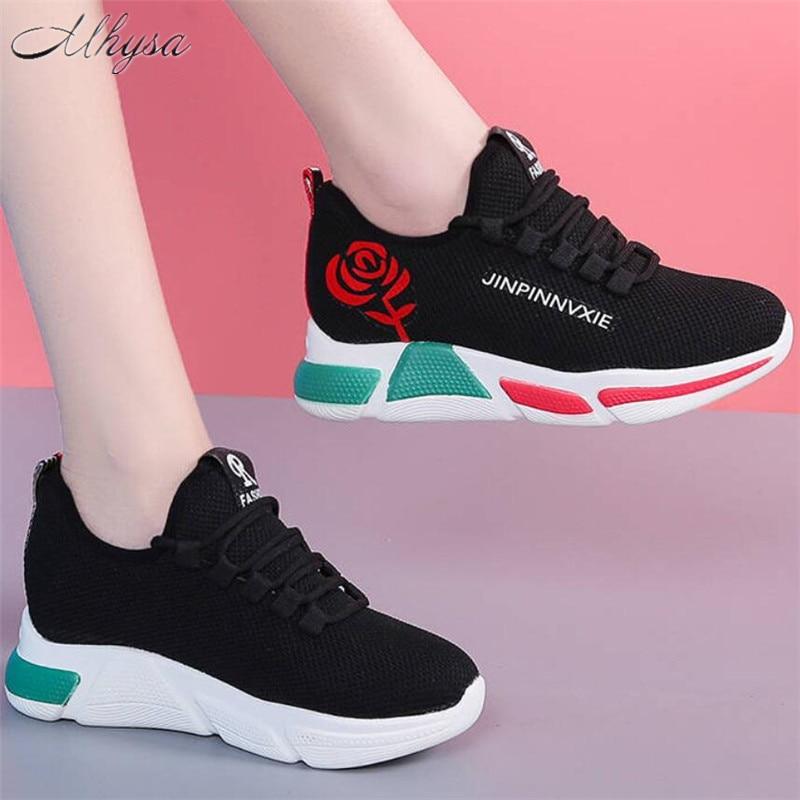 New Women Casual Shoes Woman Fashion Breathable Mesh Walking Shoes Platform Sneakers Women Black Vulcanized Shoes Tenis Feminino