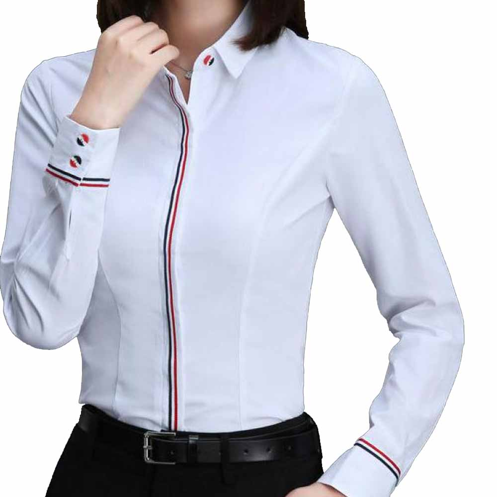Women Business Blouse Button Long Sleeve Lapel Ladies Office Work Shirts Elegant Female Blusas Satin Slim Wear New Arrival