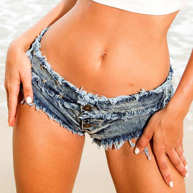 Micro Bikini Kurze Femme Mini Damen Denim Shorts Niedriger Taille Kurze Jeans Sommer Frauen Sexy Shorts Nachtclub Strand Tanga Jeans