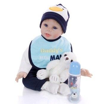 Cute reborn boy baby doll 22inch 55cm fashion silicone reborn baby dolls toys gift bebe reborn menino boneca toddler doll