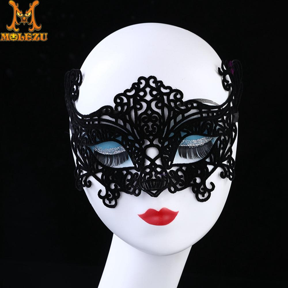 Molezu <font><b>Halloween</b></font> <font><b>Sexy</b></font> Lace <font><b>Mask</b></font> Prom Half Face <font><b>Mask</b></font> Carnival Party Performance Sex Lady Masquerade <font><b>Mask</b></font> image