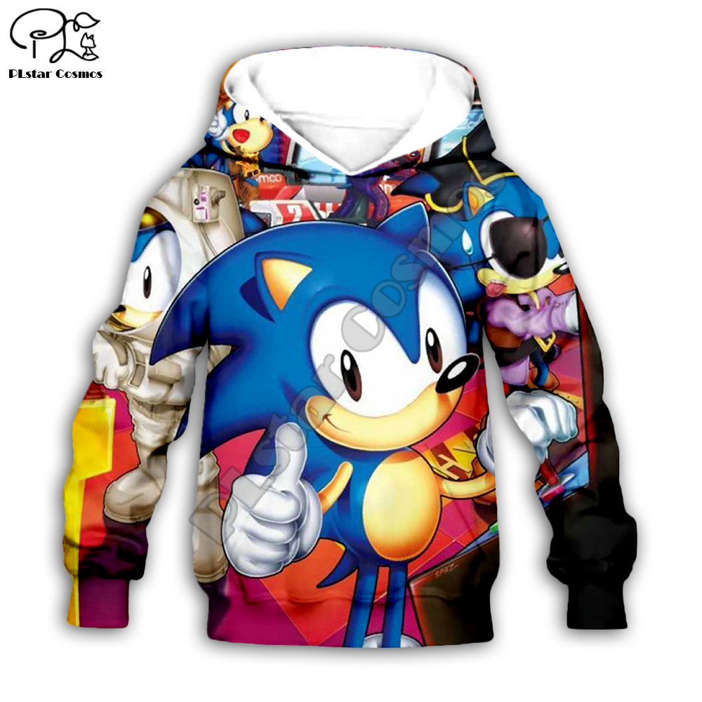Family Shirts Anime Super Sonic 3d Hoodies Children Zipper Coat Long Sleeve Pullover Cartoon Sweatshirt Set Hooded/pants Shorts