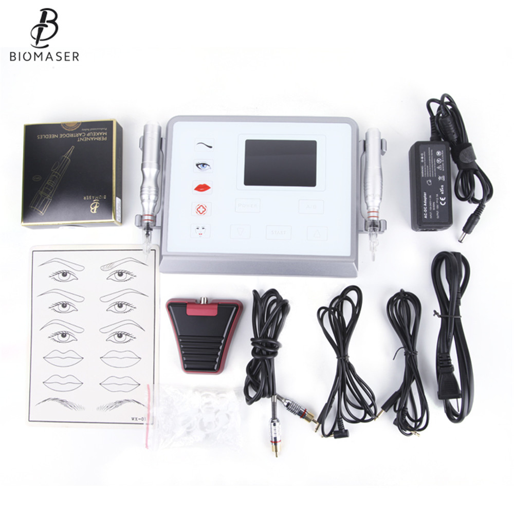 Biomaser P1 Permanent Makeup Machine Device Swiss Motor 5 Mode Intelligent Digital Touch Screen Tattoo Machine Set