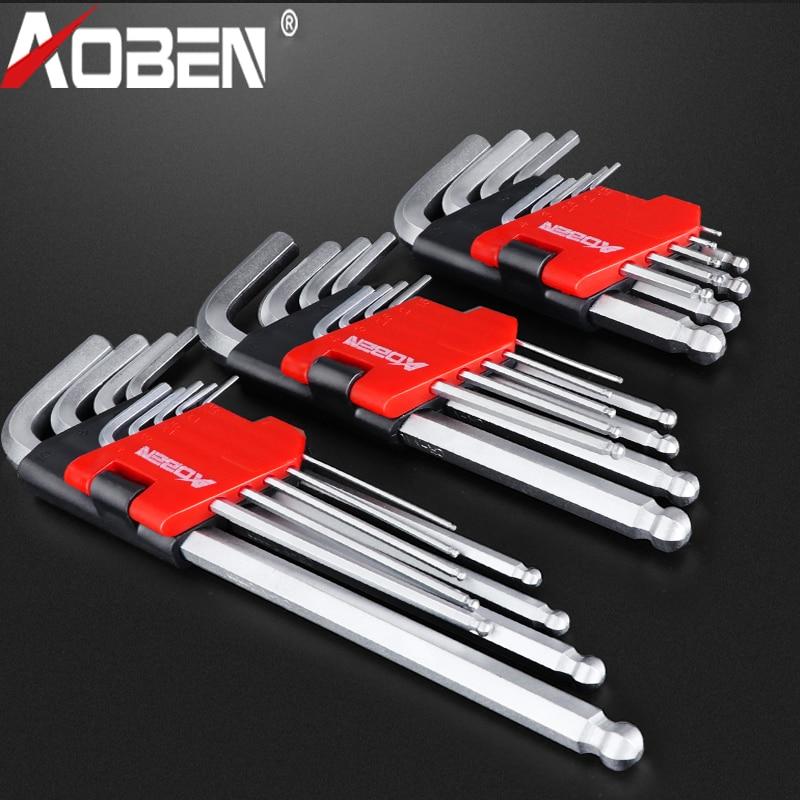 AOBEN 9PCS Chromium-Vanadium Steel Hexagon Allen Wrench Set Non-Slip Torque Wrench  Multifunctional 1.5mm-10mm Spanner Tool Kit