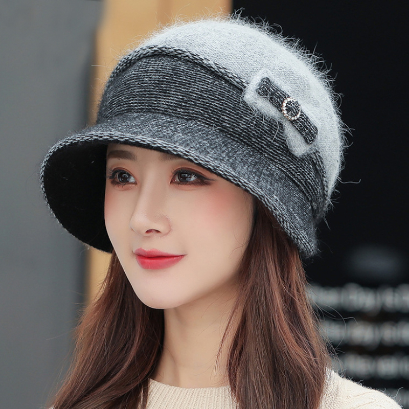 HT3724 Autumn Winter Cap Hats for Women Patchwork Bowknot Wool Bucket Hat Female Thick Warm Two Layers Knitted Hat Bucket Caps