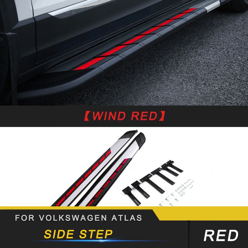 For Volkswagen VW Atlas 2017 2019 T ROC Car Door Threshold Sill Scuff Plate Welcome Pedal Pad Nerf Bars Running Board Nerf Bars & Running Boards     - title=