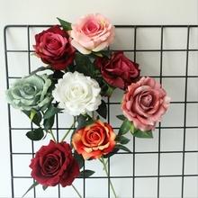 Sztuczne kwiaty sztuczne róże bukiet wazony na akcesoria do dekoracji domu stół do jadalni ślubne dekoracje kwiatowe scrapbooking tanie tanio dycrazy 594072032924 Róża Bukiet kwiatów Ślub Jedwabiu