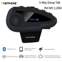 VNETPHONE V8 Motorrad Bluetooth Helm Intercom ohne Fernbedienung 5 Weg Gruppe Sprechen Drahtlose Wasserdichte Headset FM NFC 1,2