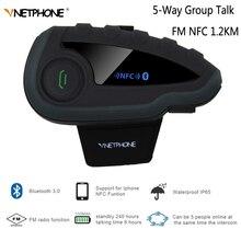 VNETPHONE intercomunicador Bluetooth para casco de motocicleta V8 sin mando a distancia, auriculares inalámbricos con sonido de grupo de 5 vías, resistente al agua, FM, NFC, 1,2