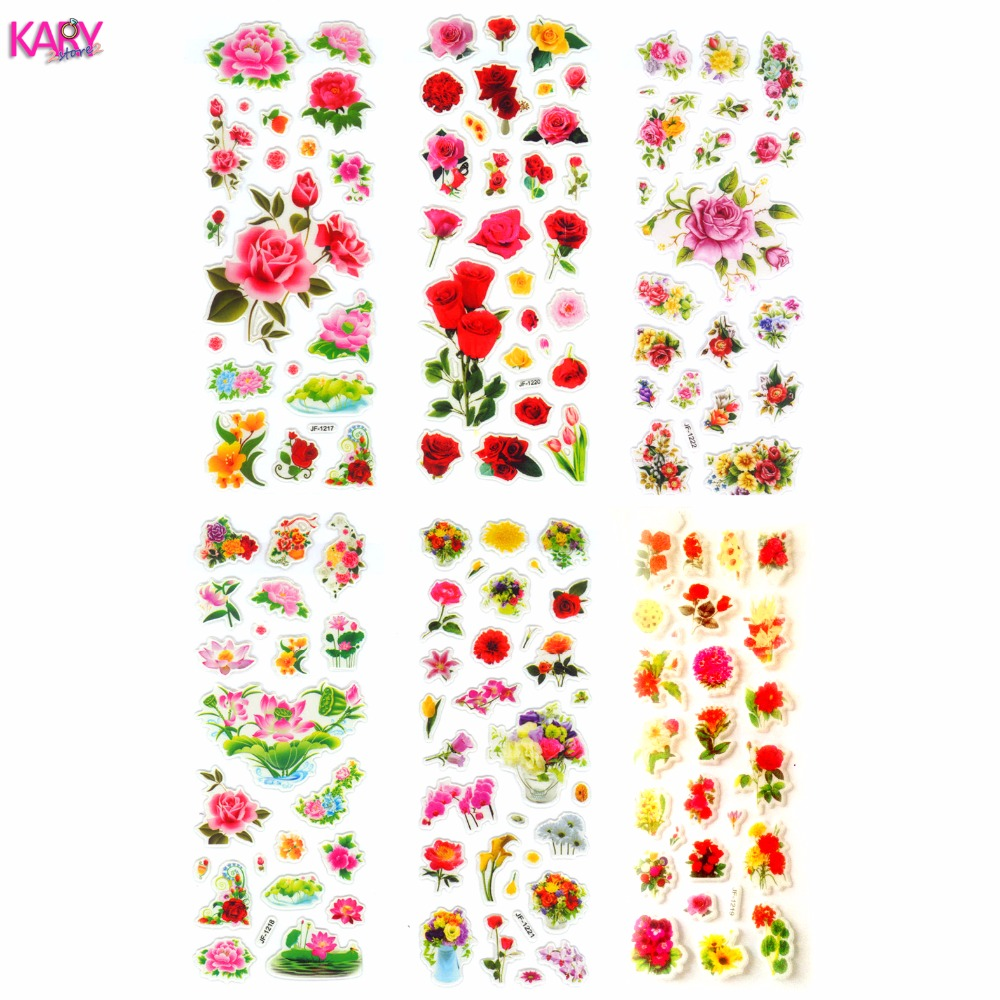 6 Sheets Scrapbooking Kawaii Romantic Love Flowers Gifts Reward Kids Children Toys Bubble Puffy Stickers Factory Direct Sales