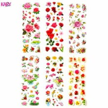цена на 6 Sheets Scrapbooking Kawaii Romantic Love Flowers Gifts Reward Kids Children Toys Bubble Puffy Stickers Factory Direct Sales