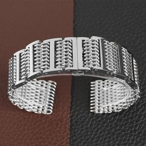 Image 4 - 22/24 ミリメートルシルバー/黒サメメッシュステンレス鋼時計バンドプッシュボタン隠しクラスプ男性腕時計ストラップ調節可能なブレスレット