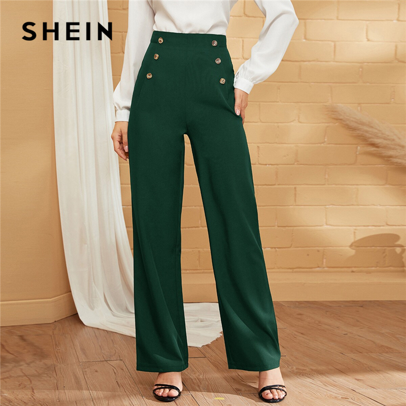 SHEIN Green Double-breasted Straight Leg Solid Long Pants Women Autumn High Waist Straight Leg Office Ladies Elegant Trousers 1
