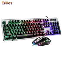 цена на Professional Gaming Keyboard and Mouse Combos USB Wired Keyboard Backlit Metal Panel Computer PC Wired 2400dpi Mouse Gamer