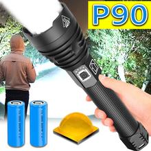 30000LM blask XHP90 najbardziej potężne latarka LED 18650 lub 26650 latarka LED na USB XHP50 XHP70 latarnia 18650 latarka myśliwska lampa ręczna tanie tanio NoEnName_Null CN (pochodzenie) Odporny na wstrząsy Samoobrona Twarde Światło Regulowany 200-500 m 2-4 plików 20W 30W 35W