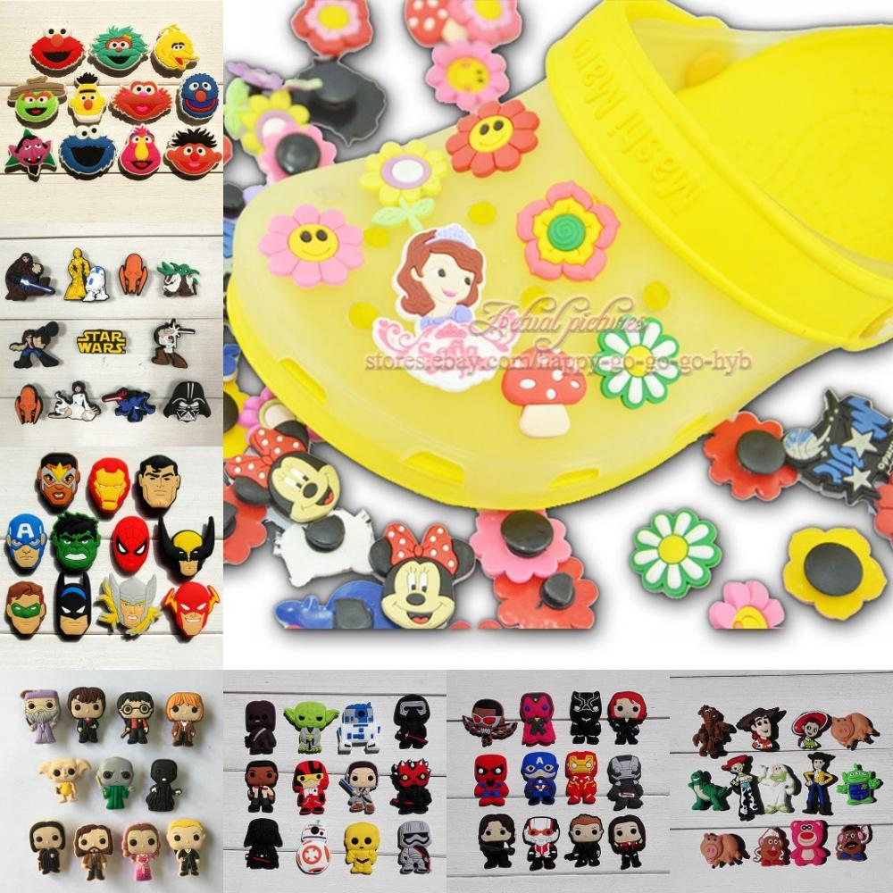 11-17pcs/set Avengers Mickey Sesame Street Groot Shoe Charms Shoe Accessories For Kids Croc Decoration Jibz Croc Charms Gift