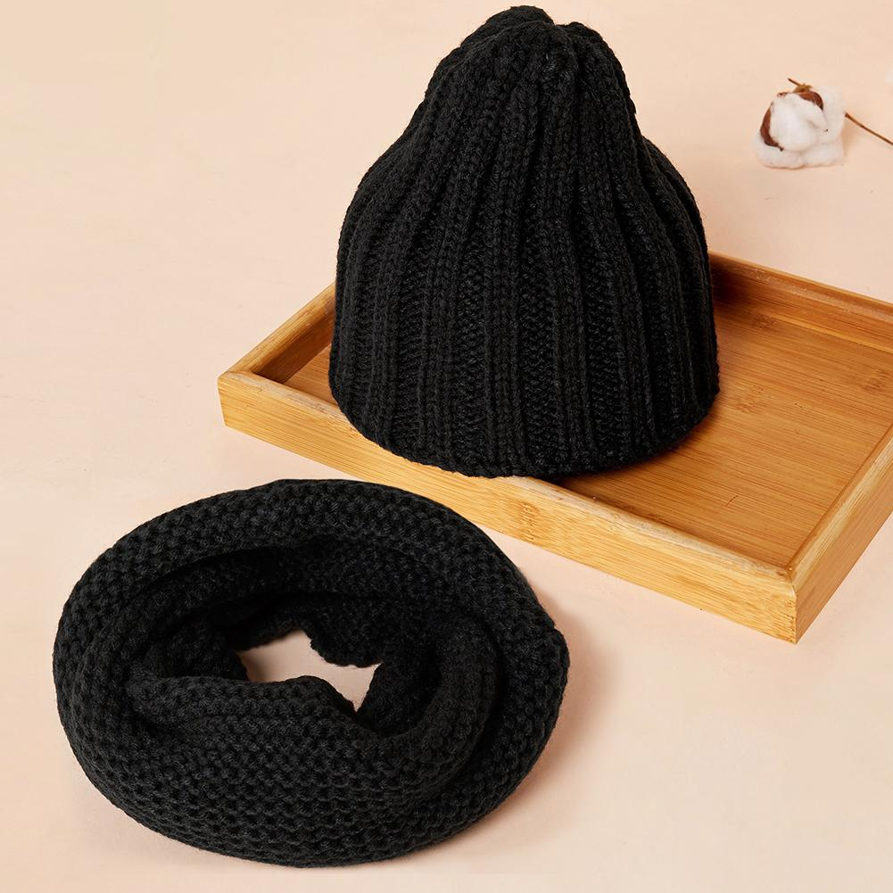 Lovely Cute Soft Baby Kids Boy Girl Yarn Knitted Winter Warm Beanie Cap Hat Scarf Spring Warm Neck Collar Kids Beanies Sets