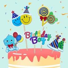 Birthday Boy Cake Topper Baby Shower Birthday Party Cake Decoration Lollipop Elephant Party Decoration Cake Topper Cake Flags