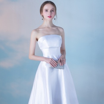2020 New Elegant Banquet Evening Dress Short Was Thin Graduation Gown Tube Top Dresses