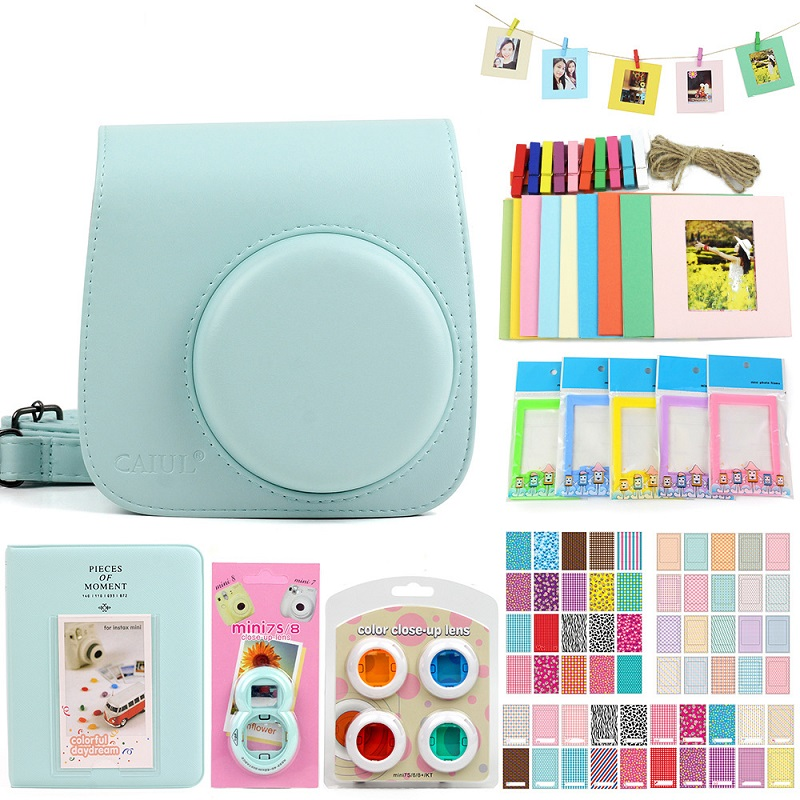 3 Colorful Photo Picture Wall Hang Frame + Clip Clamp + String Rope Andoer/® 3 in 1 Fujifilm Instax Mini 8//7s Camera Accessories Bundle Kit