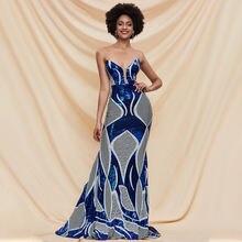 Женское длинное платье русалка синее блестящее для выпускного