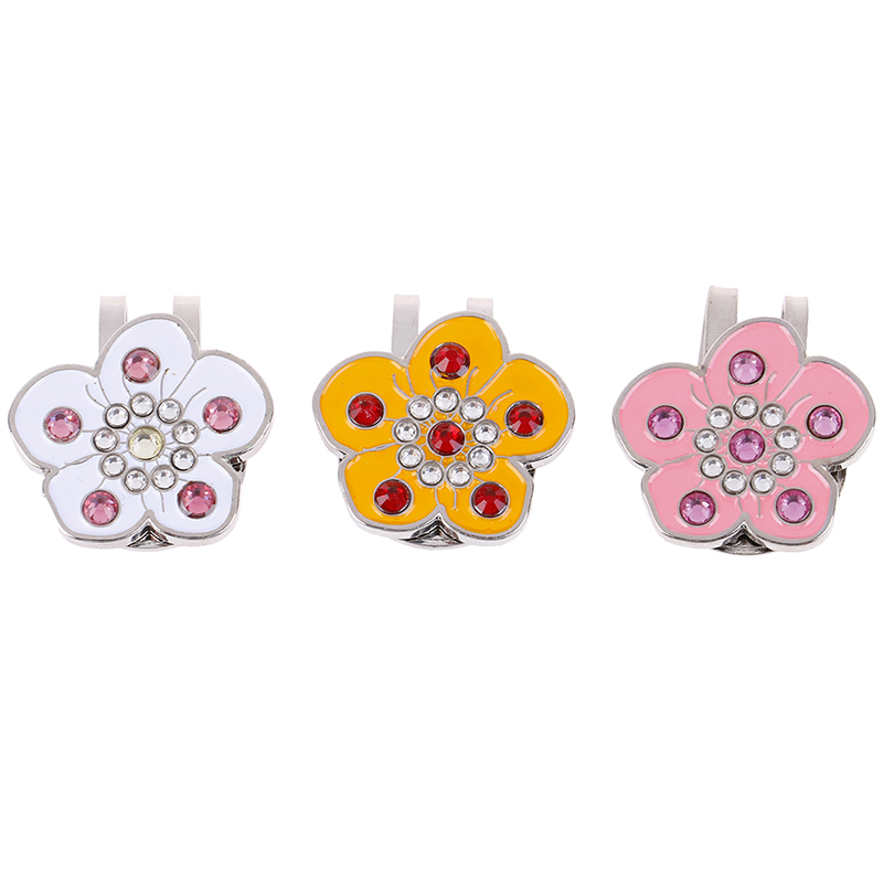 Golf Markers Plus Magnetic Alloy Golf Cap Hat Clip Multi Colors Golf Training Aids For Golf Fans Bling Diamond Flower