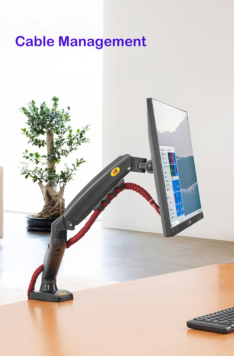 New F80 Gas Spring 17-27 inch Desktop LED LCD Monitor Mount Holder Arm Ergonomic Gas Strut Flexi Mount Load 2~9kgs 6