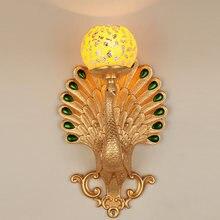 Настенный светильник с золотым павлином современное светодиодное