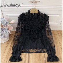 Ziwwshaoyu Elegant Black Lace Transparent Blouse Shirt Womens Long Sleeve Female Autumn Winter Tops Office Lady