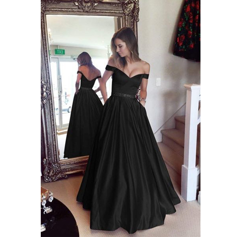 Plus-Size Dresses Wedding-Prom Floor-Length Off-Shoulder Red Elegant Ladies Women Sleeveless title=