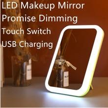 Зеркало для макияжа с LED свет LED Сенсорный выключатель естественный регулируемый угол USB зарядка цвет