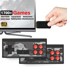 Y2 Plus 4K gra wideo konsola wbudowany w 1700 klasyczne gry Mini Retro konsola kontroler bezprzewodowy z wejściem HDMI dwóch graczy tanie tanio Rondaful NONE CN (pochodzenie) Wtyczka UE Game machine set