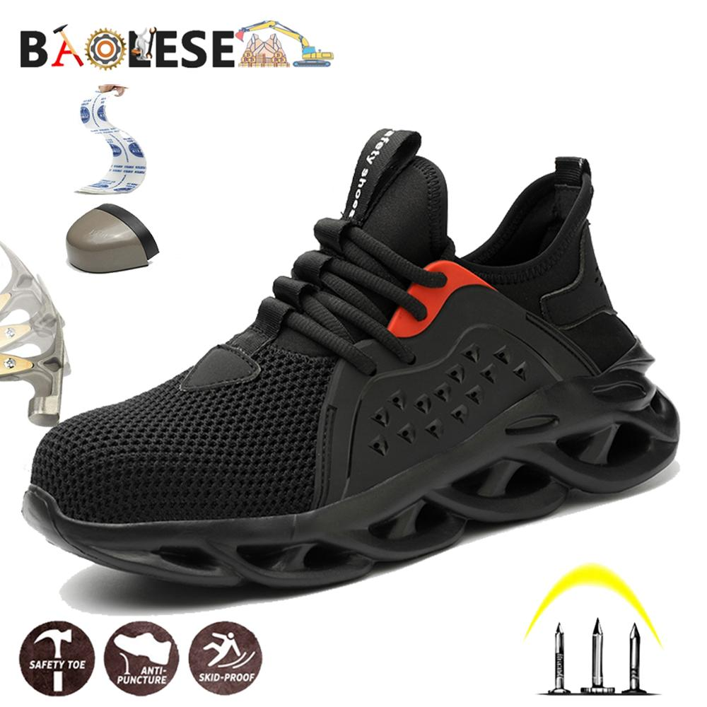 BAOLESEM Man Safety Shoes Mesh Work Shoes Steel Cap Toe Safety Work Shoes Anti-smashing Construction Worker Indestructible Shoes