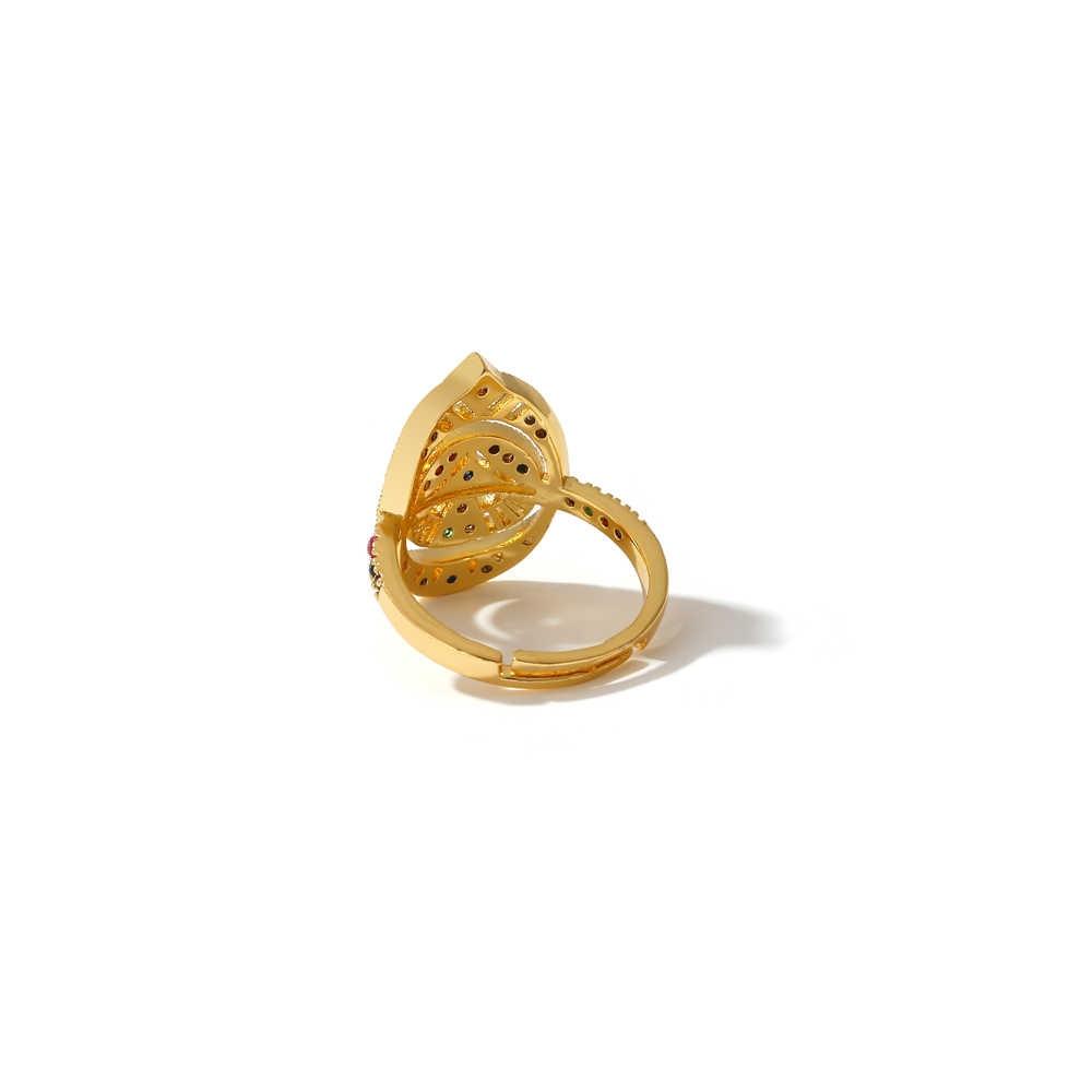 Yhpup Luxury CZ Bling Cubic Zirconia ปรับสายรุ้งแหวนเครื่องประดับคุณภาพสูงแหวนเรขาคณิตสำหรับผู้หญิงสำหรับเด็กของขวัญใหม่