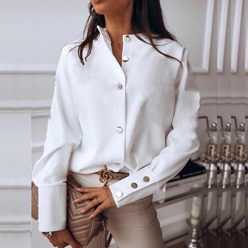 Élégant blanc chemisier chemise femmes manches longues boutton mode femme Blouses 2020 femmes hauts et chemisiers solide printemps hauts