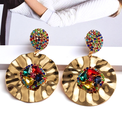 New Design Colorful Crystals Round Metal Gold Drop Earrings High-Quality Fashion Trend Jewelry Accessories For Women