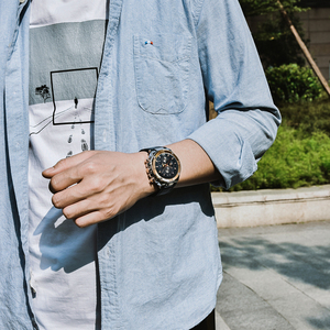 Image 3 - BENYAR ブランド高級メンズ腕時計レザークォーツ時計ファッションクロノグラフ腕時計男性スポーツ軍事レロジオ Masculino