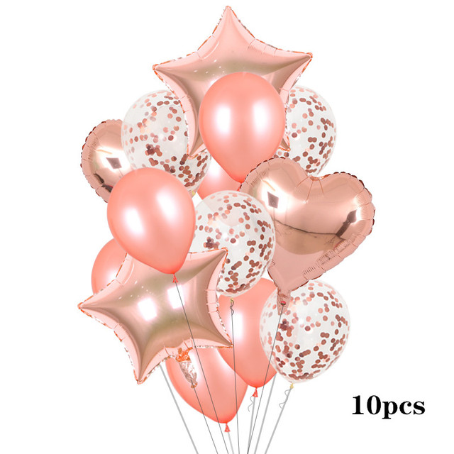 18inch rose gold heart foil balloon 10inch white pink latex balloon confetti balloon wedding decoration birthday party baby toys 4