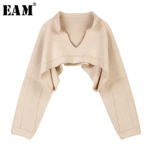 [EAM] Apricot Brief Big Size Short Knitting Sweater Loose Fit V-Neck Long Sleeve Women Pullovers New Fashion Spring 2021 1S363
