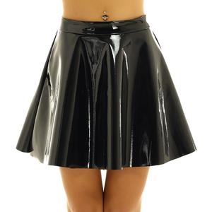 Image 4 - Womens Wetlook Mini Clubwear Sexy Pole Dance Costumes Leather High Waist Fashion Flared Pleated A Line Circle Mini Skater Skirt